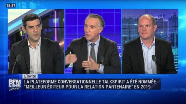 Philippe Pinault (CEO de Talkspirit) et Xavier Niss (directeur national des ventes de Eckes-Granini) discutent réseaux sociaux d'entreprise sur le plateau de BFM Business