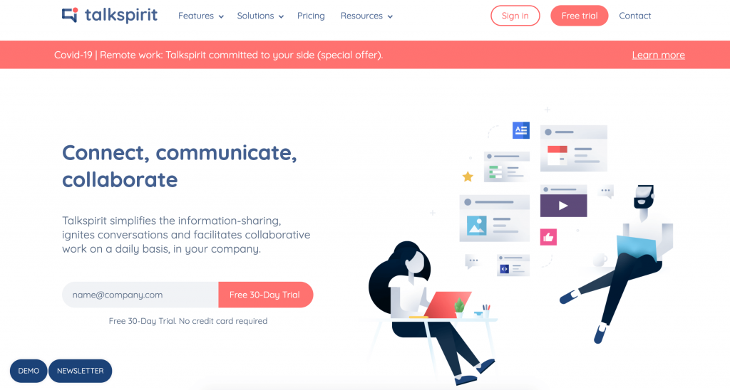 Talkspirt corporate social network remote working