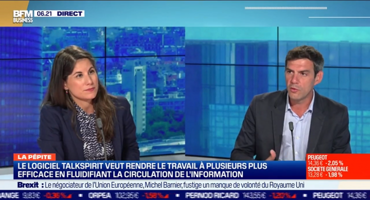Philippe Pinault, CEO of Talkspirit, an alternative collaborative platform to GAFA, on the set of BFM Business the 24th August 2020