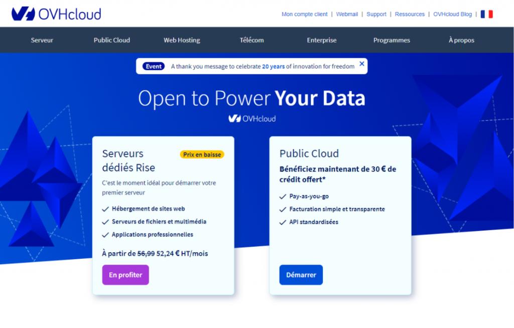 OVH cloud solution d'hébergement