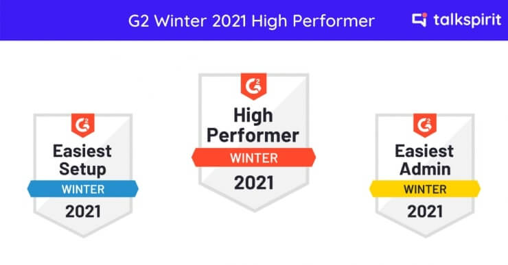G2 Winter 2021 Report: Talkspirit Named High Performer by G2 in Internal Communication and Instant Messaging