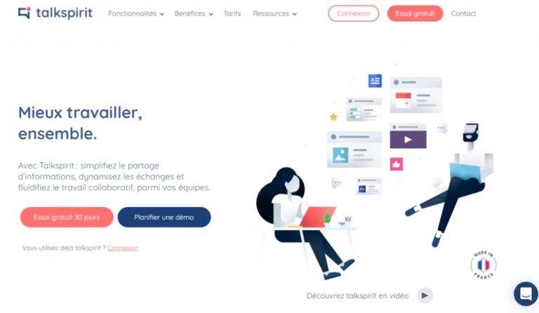 Talkspirit plateforme logiciel pour le télétravail la communication la collaboration made in France