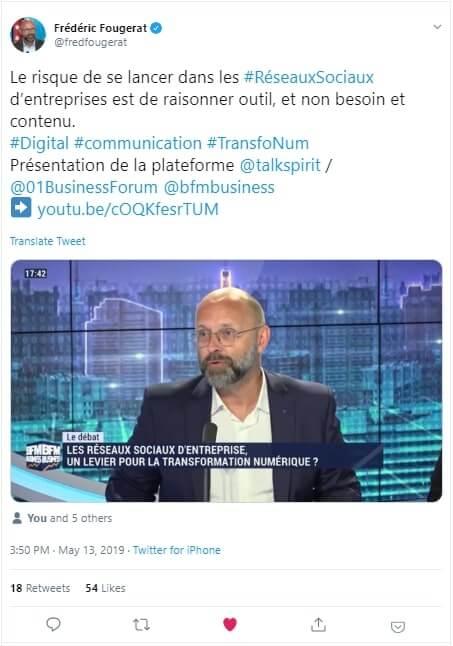 Tweet Fougerat Tradori BFM-Business BFM-TV Simottel talkspirit Pinault
