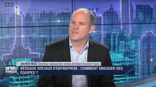 Xavier Niss, directeur national des ventes de Eckes-Granini, sur le plateau de BFM Business avec Talkspirit pour parler réseaux sociaux d'entreprise