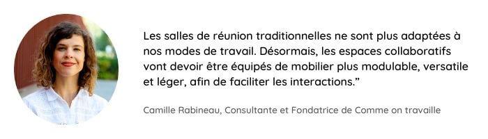 Citation de Camille Rabineau sur la tendance d'aménagement des bureaux relative au mobilier modulable
