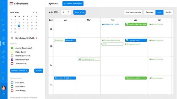vue calendrier de l'agenda partagé Talkspirit